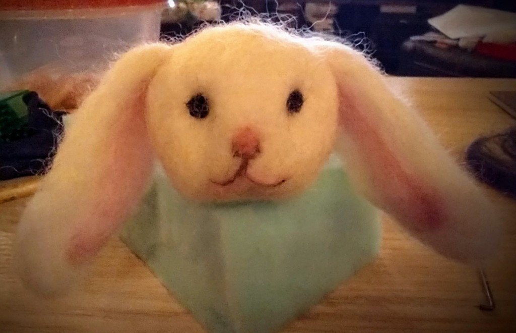 Little Felt Bunny by Path with Art student artist Jessica Peterson