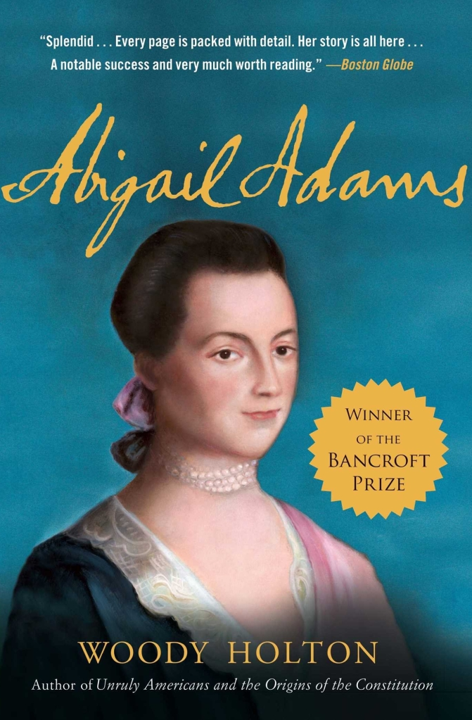 Painting of a young Abigail Adams on a book cover