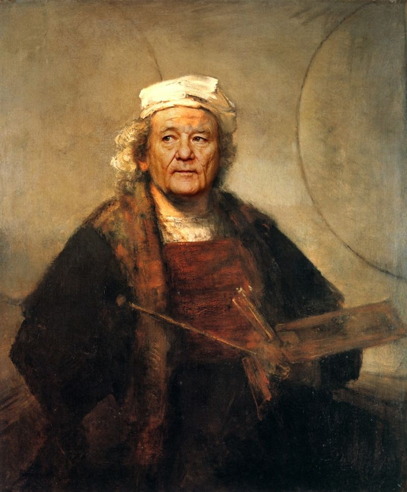 Bill Murray's face on Rembrandt's famous self-portrait