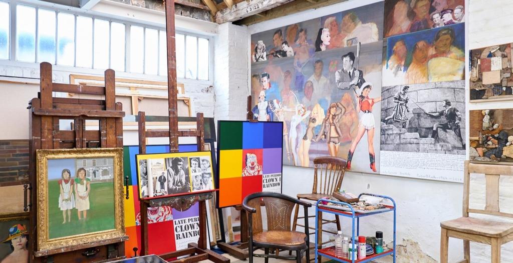 Photo of artist Peter Blake's studio in London