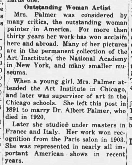 Pauline Palmer, one of the outstanding women artists in America
