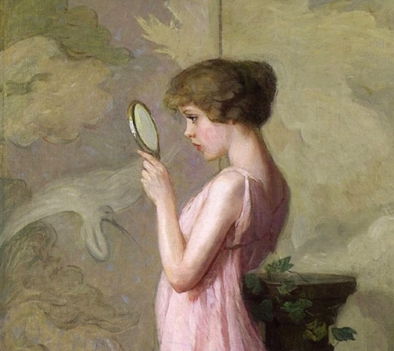 Detail of a woman looking into a mirror from one of Pauline Palmer's paintings